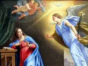 Maria recebe um recado trazido pelo Anjo Gabriel