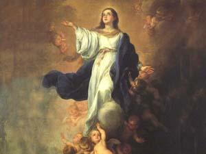 Maria  é elevada ao Céu pelos Anjos